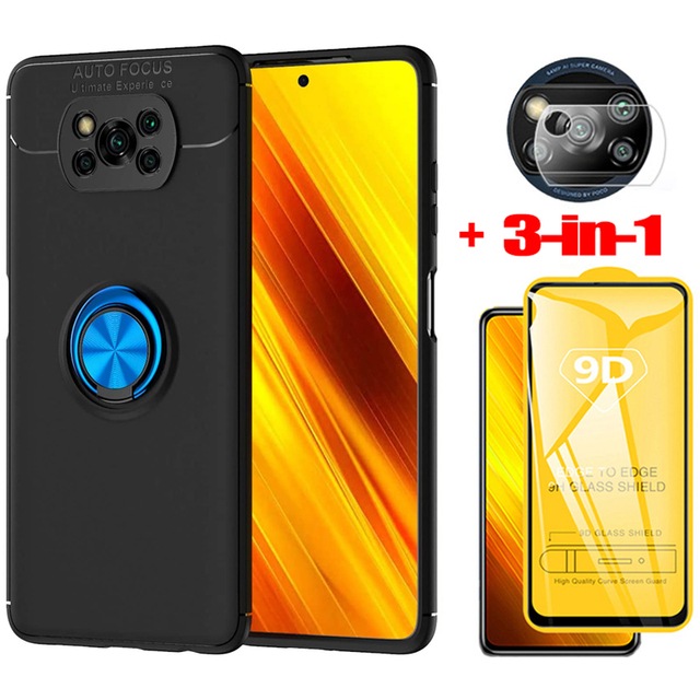 3 in 1, Phone Cases + Glass for Poco X3 Magnetic Ring Silicone Screen Protector Cover Pocophone X 3 NFC Xiaomi Poco X3 NFC Case