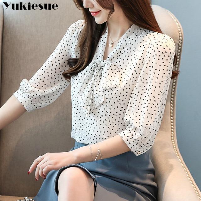 chiffon dot blouse femme shirt women blusas shirts 2019 summer long sleeve elegant ladies top womens blouses and tops Plus size 3