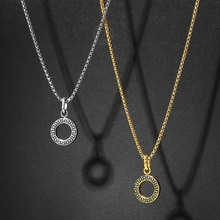 Design Pendant Necklace for Men Boy Gold Silver Color Round Box Stainless Steel Chain Necklace Fashion Jewelry For Gift DTNS001