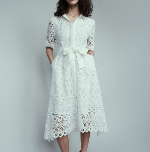 Women s Dresses Midi dress in daisy guipure Slim Short Sleeve Openwork Lace Embroidered Dress