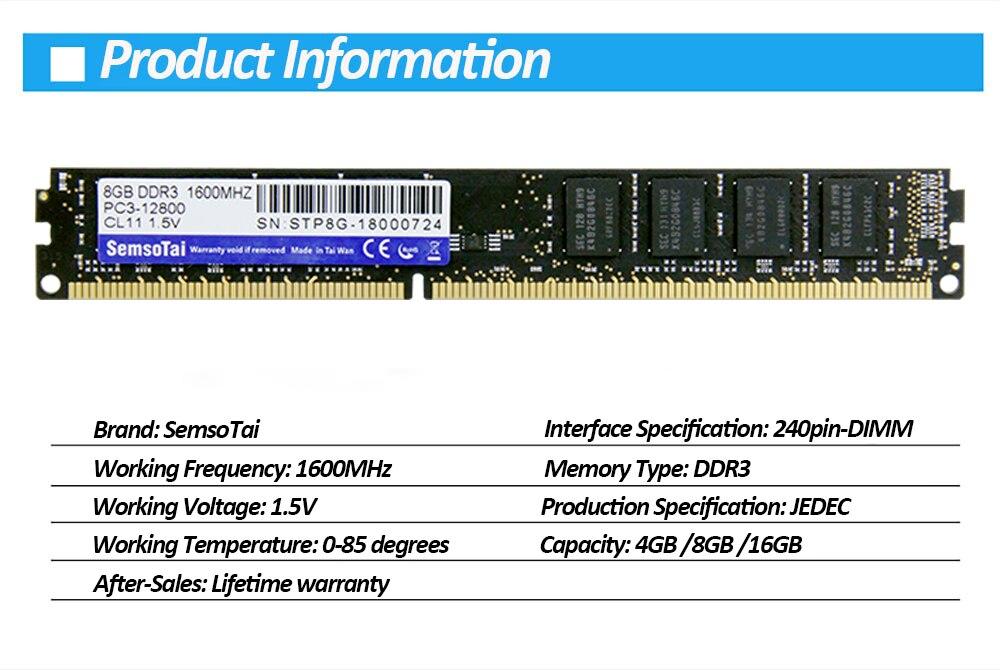 JEDEC STANDARD 16GB DDR3 1600MH