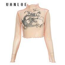 Weekeep/Модная китайская футболка с длинным рукавом и принтом
