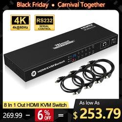 4K HD Kvm-switch 8 Port HDMI Switcher Bis zu 4K @ 60Hz Ultra HD Unterstützung USB2.0 IP control Auto Scan Rackmount mit 4 Pcs KVM kabel