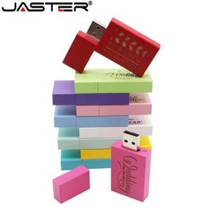 Image 2 - JASTER לוגו אישיות עץ צבעוני בלוק USB דיסק און קי מתנה יצירתית u דיסק pendrive 4g 16gb 32gb 64GB עץ זיכרון מקל