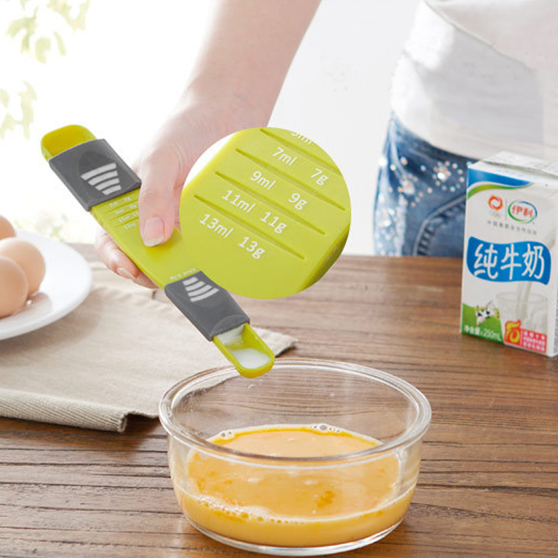 1pc Double Head Adjustable Cuisine Spoon Seasoning Green Spoon Teaspoon With Scale Measuring Kitchen Tools 22x4x2cm Plastic