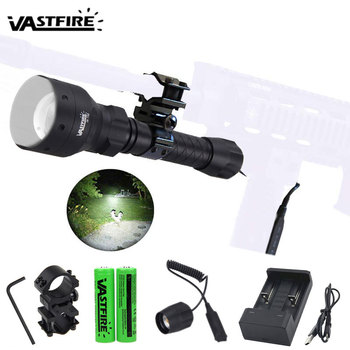 500 Yards Zoomable Focus Hunting Flashlight 55mm Lens Tactical Under-barrel Gun Light+Rifle Scope Mount+Switch+18650+USB Charger