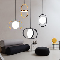 Modern Classic Led Black Lamp Bedroom Lighting Up Down Magic Eye Glod Indoor Metal Pendant Light Bedside Small Hanging Light