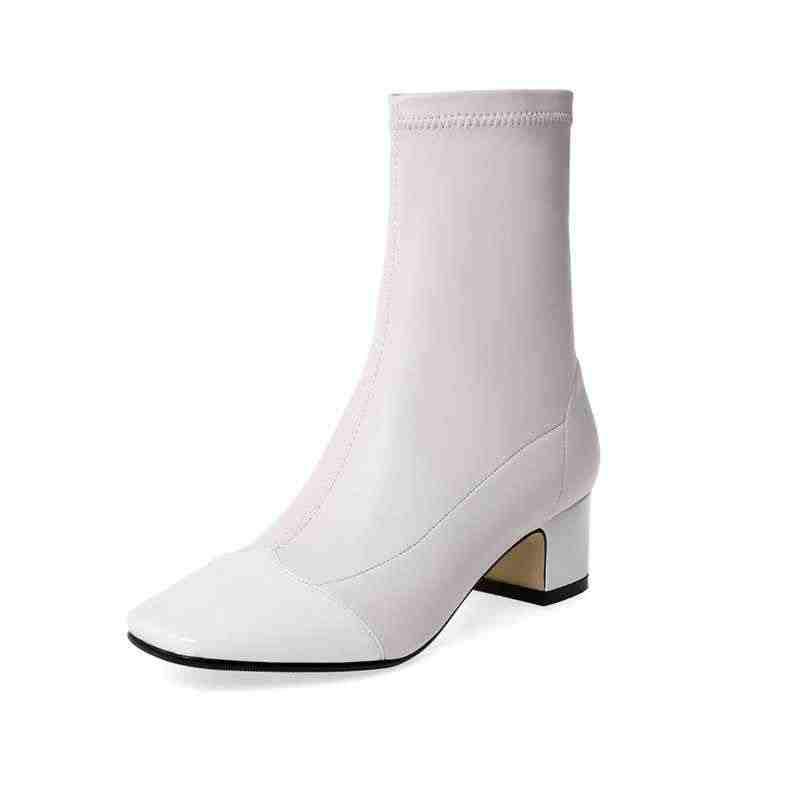 Krazing pot/Популярные растягивающиеся ботинки из коровьей кожи с квадратным носком в Корейском стиле; зимние теплые женские ботильоны на среднем каблуке с боковой молнией; большие размеры; L02