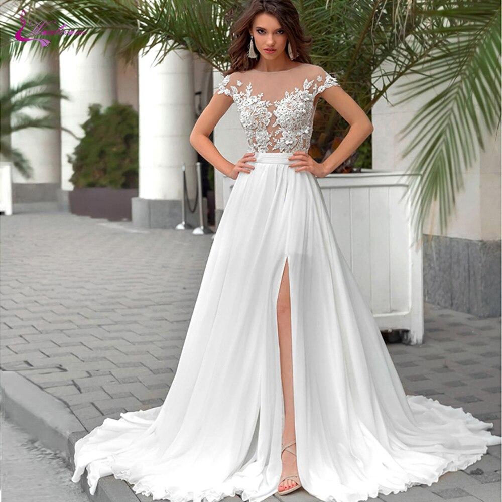 Waulizane Delicate Chiffon Slip Strand Hochzeit Kleid EINE Linie Mit O Ausschnitt Appliques Von Transparent Büste Braut Kleid
