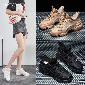 Sneaker Fashion Women Shoes Genuine Leather Casual Round Toe Cross-tied 6cmHigh Student Fenale Spring/Autumn/Winter
