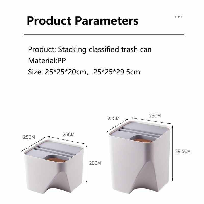 Nueva llegada creativa cocina baño apilamiento de basura clasificada papelera de separación de ropa seca y húmeda papelera