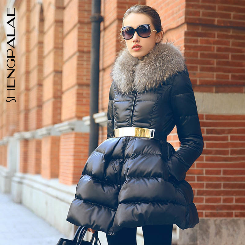 SHENGPALAE 2019 Winter Clothes Split Joint Hair Lead Long Sleeve   Parkas   Long Fund Thickening With Gold Belt Coat Woman FU119