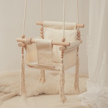 Baby Canvas Swing Chair Hanging Wood Children Kindergarten Toy Outside Indoor Personality Tassel Swinging Rocking Chair For Kid
