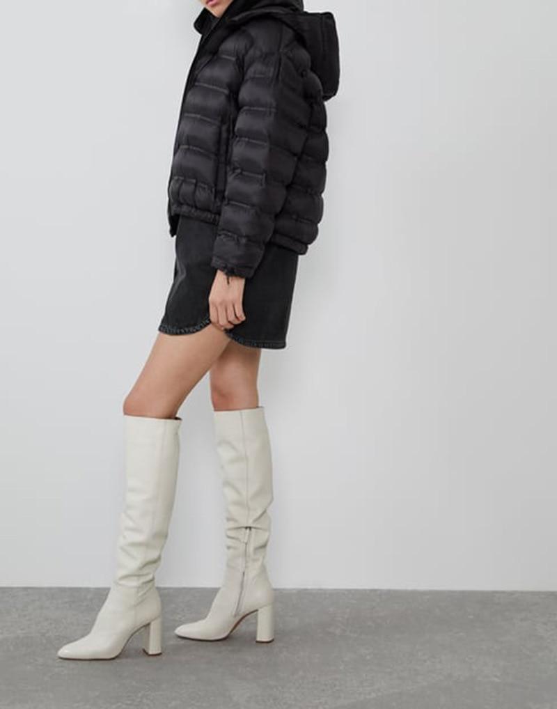 Осень зима 2019, новый стиль, Y, черно белая одежда с рисунком, с хлопковой подкладкой, с капюшоном, теплая, короткая, закрывающая края, теплая, комфортная