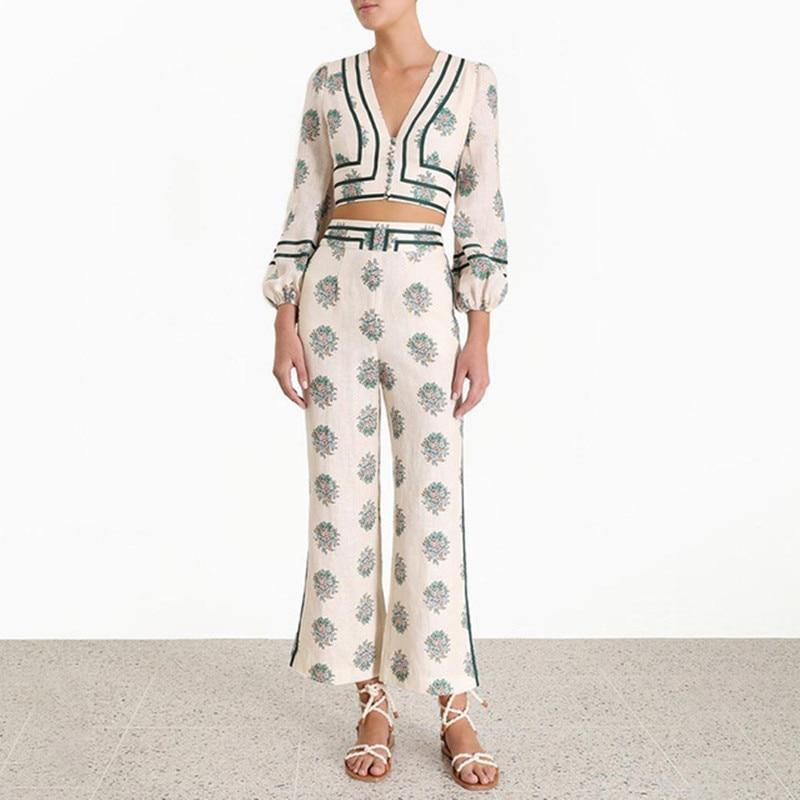 Fashion Suit High Quality Vintage Bind Up Grosgrain Trim High Waist Chic Floral Print Wide-leg Flared Pants Set