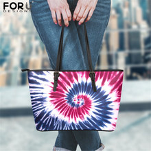 FORUDESIGNS Red White Blue Tie Dye Print Pu Leather Handbags Shopper Bags Female Luxury Designer Tote Messenger Bag Bolso Hombre