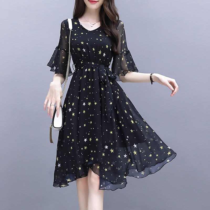 2019 <font><b>Women's</b></font> Spring <font><b>Summer</b></font> <font><b>Sexy</b></font> V-Neck Short Sleeve Star Print <font><b>Dress</b></font> Ladies Casual office ladies <font><b>Dresses</b></font> платье image