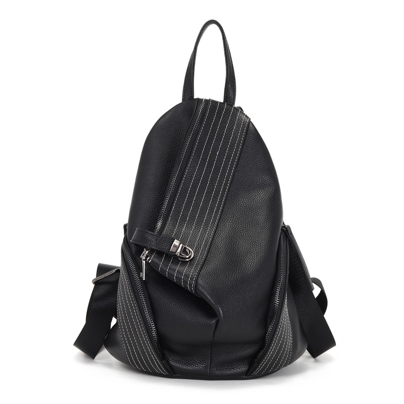Anti-theft Women Genuine Leather Backpack Classic Vintage Lady Knapsack Black Travel Bag High Quality Daily School Bags For Girl