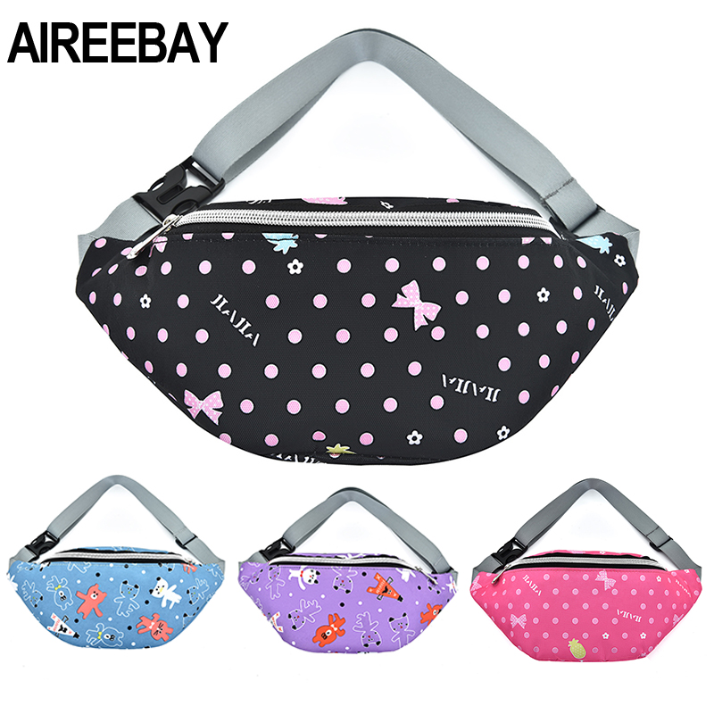 AIREEBAY Printed Women Waist Bags Pink Cute Fanny Pack With Zipper For Girls And Kids Belt Bag Female Travel Bum Banana Bags