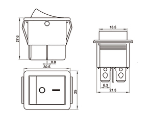 10 шт. KCD4, зеленый кулисный переключатель, 6 контактов, в форме лодки, 16А, 250 В, зеленый светильник, лампа, кнопка, Электрический селектор, ВКЛ-ВЫКЛ.