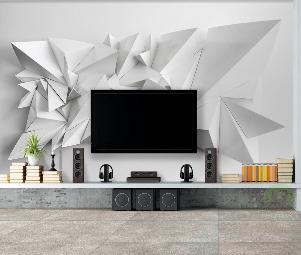 Drop Shipping Custom Photo Modern Simple 3D Triangle TV Background Mural Wallpaper For Livingroom Walls Wedding Room Decoration