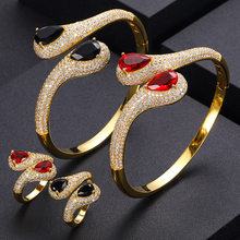 jankelly Luxury roundshape Bangle Ring Sets Fashion Dubai Silver Bridal Jewelry Sets For Women Wedding brincos para as mulheres(China)