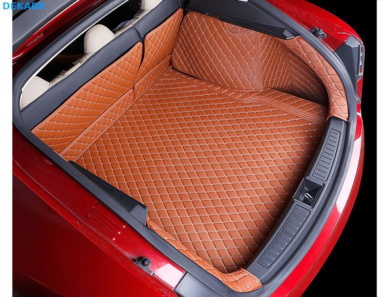 Автомобильный коврик багажника грузовой лайнер задняя крышка Водонепроницаемая накладка протектор для 2014 2019 Tesla модель S интерьерные аксес... - 5