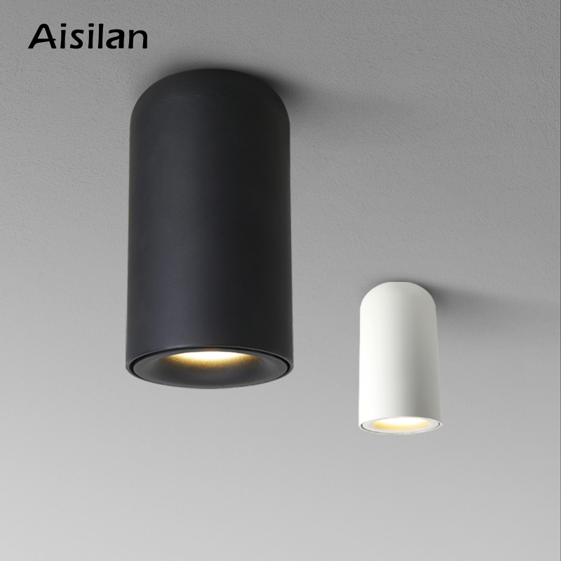 Aisilan Nordic LED Downlight Surface Mounted Ceiling Lamps AC85-260V White Black  Spot light for Living Room Bedroom Hallway
