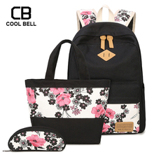 3pcs/Set Canvas Girls Flower School Backpack Kids Floral Bag Travel Bags For Teenage Purses And Handbags