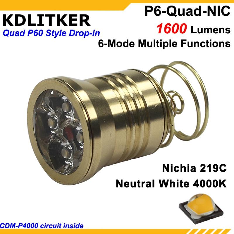 KDLITKER P6-Quad 4 X Nichia 219C Neutral White 4000K High CRI92 1600 Lumens 3V - 9V P60 Drop-in Module (Dia. 26.5mm)