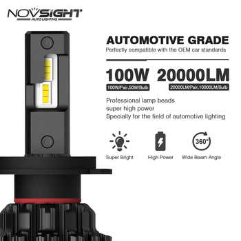 NOVSIGHT Car Headlight H4 Hi/Lo Beam LED H7 H8 H9 H11 9005/HB3 9006/HB4 100W 20000LM 6000K Auto Headlamp Fog Light Bulbs