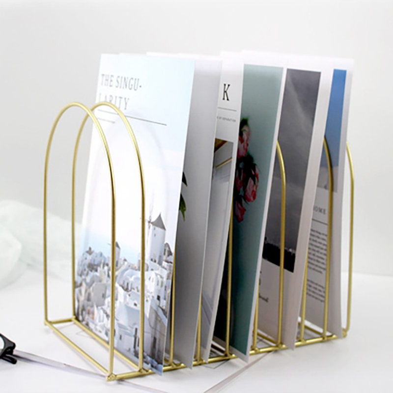 Creative Simple File Organizer Wrought Iron Book Stand Storage Stationery Student Dome Ornaments