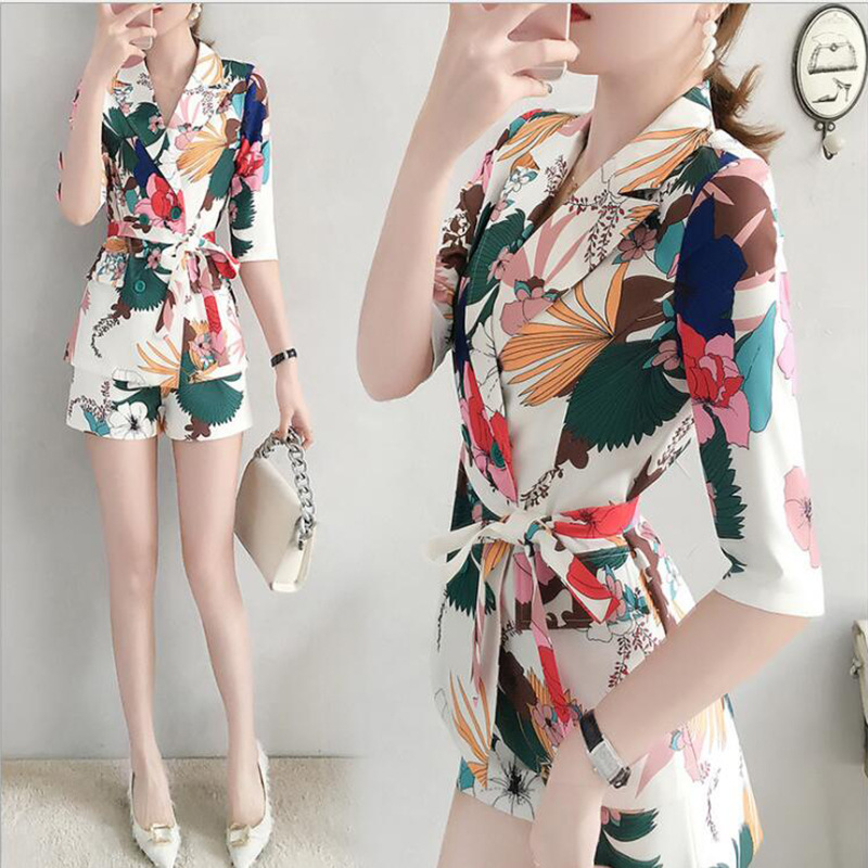 Western Style Printed Shorts Set Summer Wear For Women 2019 New Style Korean-style Fashion Elegant France Non-mainstream Two-Pie