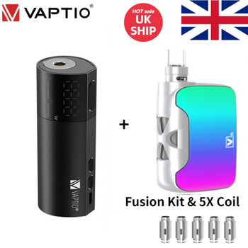 [Ship From UK] Vaptio VEX 100 Box Mod Vapor E Cig VEX100 & Fusion Kit 2ML Vape 510 Tank S2 Coils Fit 21700/20700/18650 No Cell original ehpro 2 in 1 fusion 150w tc kit max 150w w fusion mod