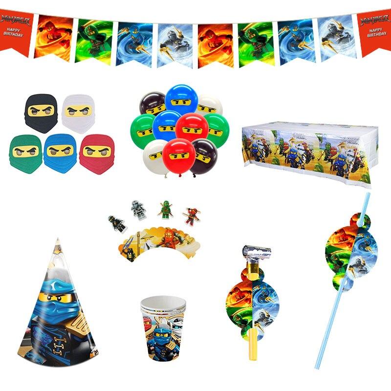 Legoing Ninjagoing День рождения украшения для баннеров супер герой поставить тема сувениры подарки для мальчиков