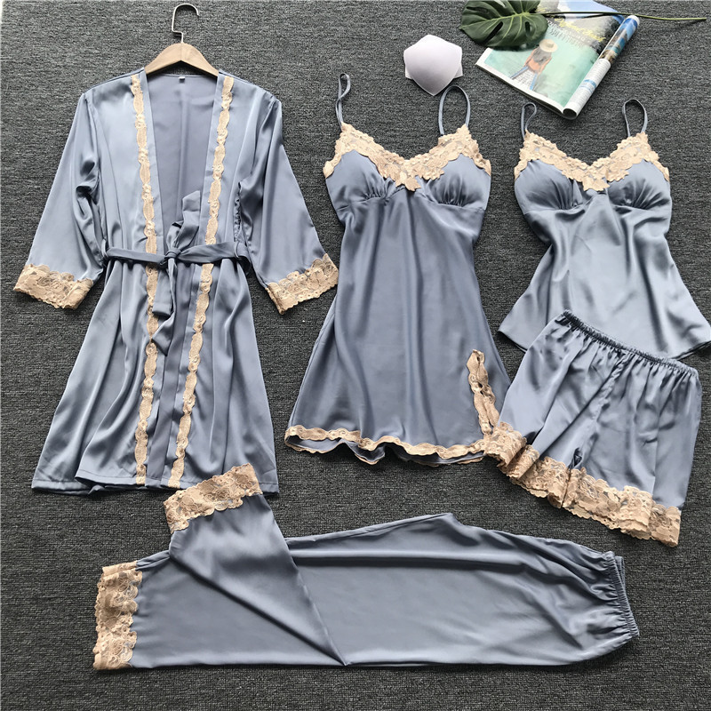 5 Pcs Lace Sexy Women Pajamas With Chest Pad Spaghetti Strap With Belt Cardigan Sleepwear