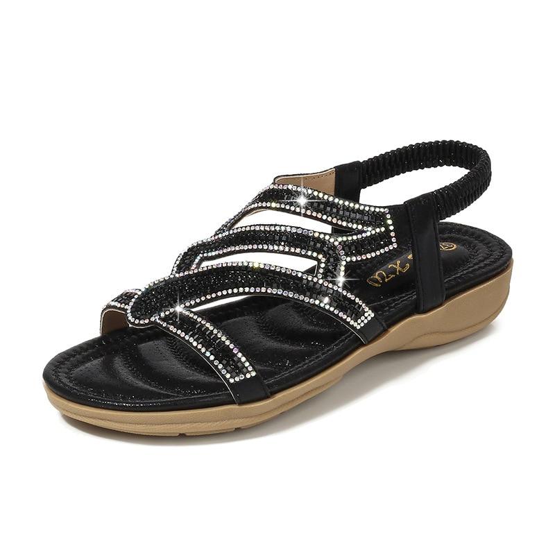 Ladies Shoes Bohemian Women Shoes Sandals Women 2020 Summer Blue Grid Striped Flat Shoes X6X80302