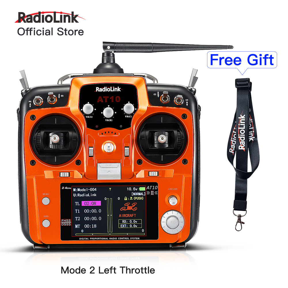 Radiolink AT10II 12CH RC Transmitter and Receiver R12DS 2.4G DSSS&FHSS Radio Remote Controller for RC Drone/ Fixed Wing Mode 2 image