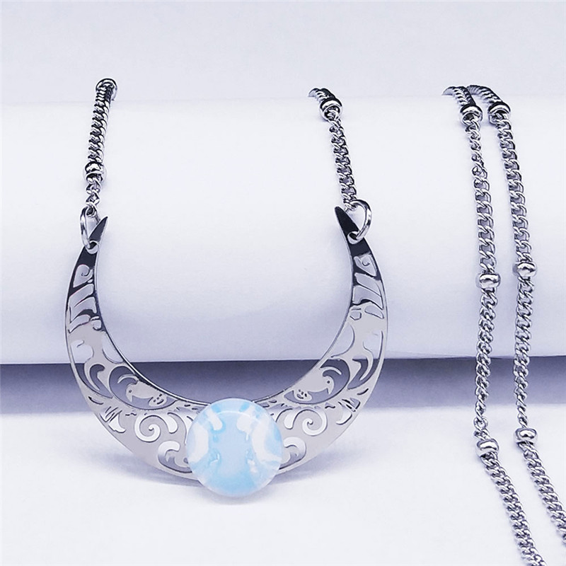 2020 Moon Moonstone Stainless Steel Chain Necklace Women Silver Color Pendants Necklaces Boho Jewelry bijoux femme N1129S04