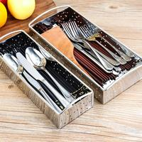 Stainless Steel Chopsticks Container Tableware Drain Case Flatware Holder Drying Organizer (Large Size)