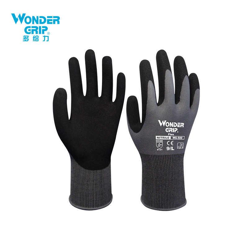 ワンダーグリップ建設手袋配管工赤ナイロンシェル黒ニトリル砂コーティング作業安全手袋男性作業手袋