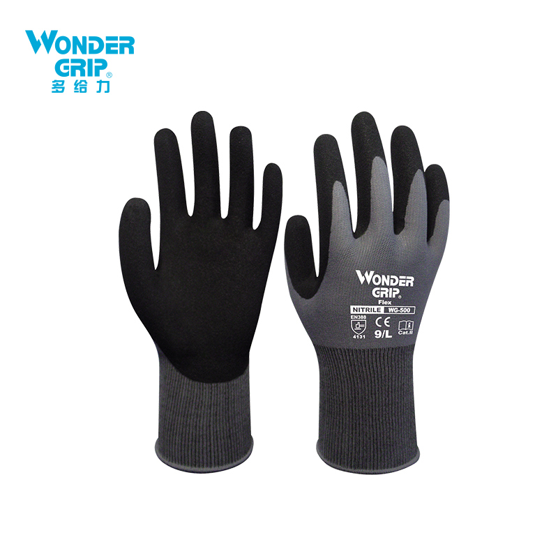 Wonder Grip Construction Gloves Plumber Red Nylon Shell Black Nitrile Sandy Coating Work Safety Gloves Men Work Gloves