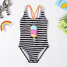 New 2019 Baby Girls Swimwear 3~8Y Girls swimsuit one piece Children Swimwear Strips style Swimsuit for Kid Girls Beachwear-SW412 cheap spandex Polyester Fits true to size take your normal size SW412Girls swimwear striped
