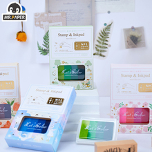 Mr.Paper 6 Designs 4 Pcs/set Vintage Retro Style Stamps And Inkpads Set Series Simple Hand Account DIY Decoration Printing