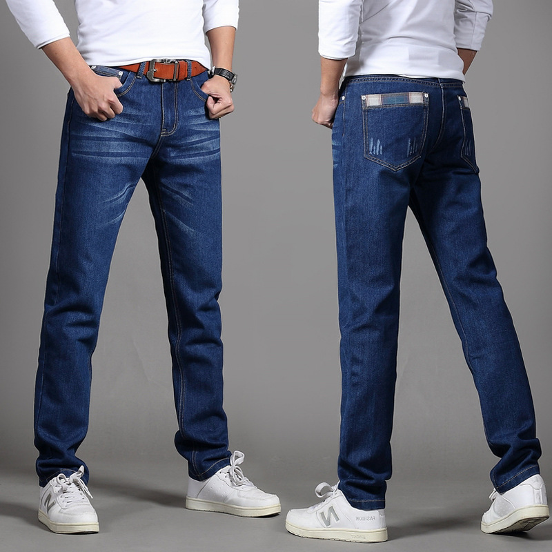 Autumn New Style MEN'S Jeans Men Korean-style Slim Fit Long Pants Business Casual Straight-Cut Loose-Fit Men's Trousers Black An