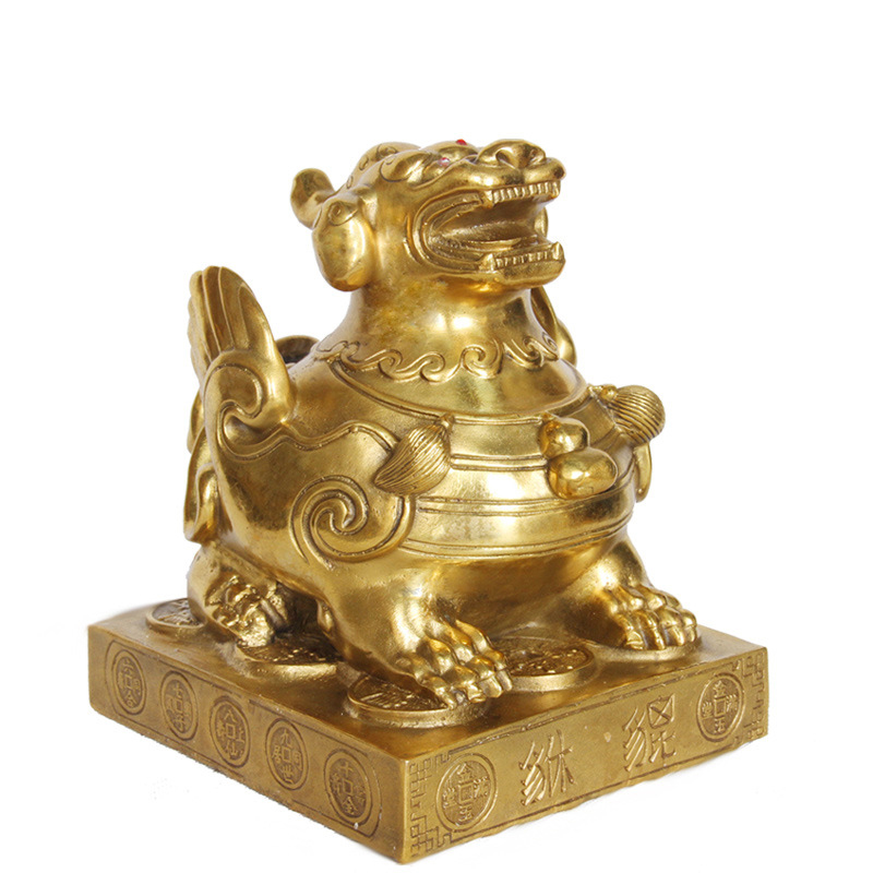 LAOJUNLU Bronze Pure Copper Enamel Ornaments Sitting Lucky Feng Shui Supplies Gifts, PiXiu No.1