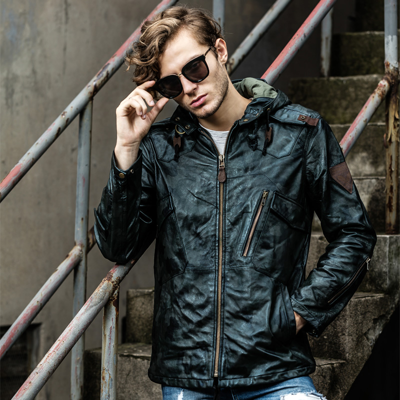 Fashion Classic Inter Warm Sheepskin Jackets Men's Slim Long Genuine Sheep Leather Jacket Casual Clothing