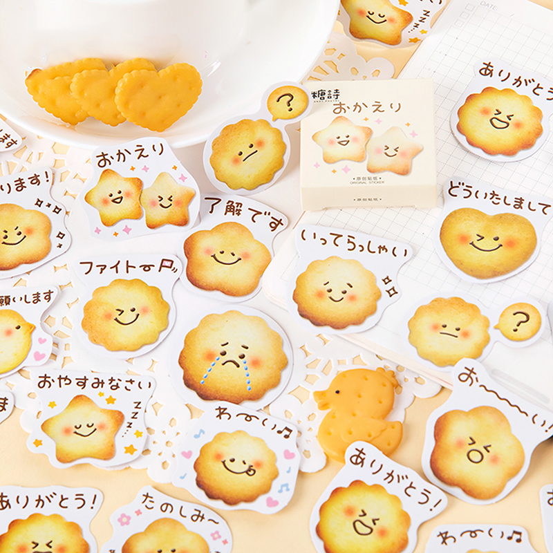 Mohamm 45sheets Kawaii Star Biscuits Happy Wink Cry expression Japanese Stationery Washi Masking Sti