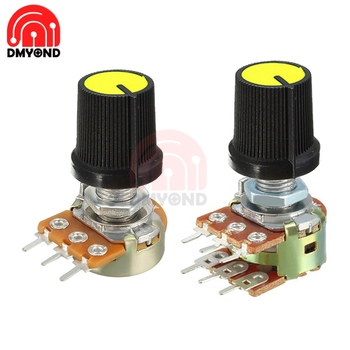 5PCS Yellow WH148 Knob Swtich Rotary Potentiometer Linear Taper For Arduino Cap 1K 2K 5K 10K 20K 50K 100K 250K 500K 1M Ohm image