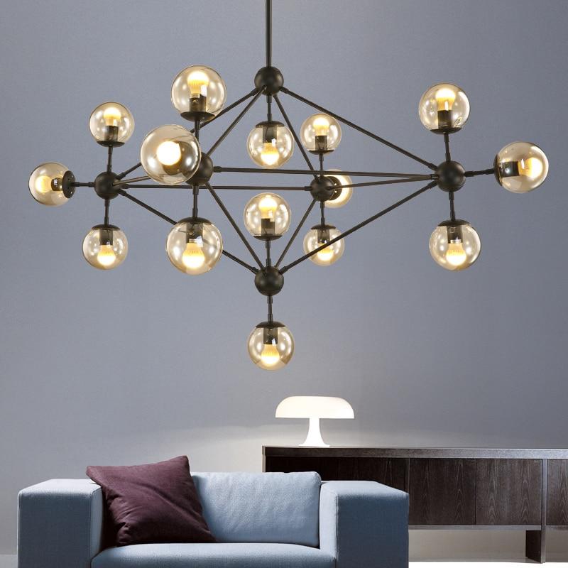 Современный подвесной светильник в скандинавском стиле из черного магического стекла E27 с молекулярным креативным промышленным стержнем
